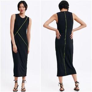 Zara seamed, contrast lines ribbed midi dress